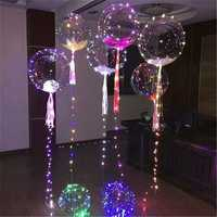 12/18/24 Inches Luminous Led Balloon Transparent Round Bubble Christmas Decor + LED Rope