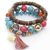 Bohemian Multi-Layer Wooden Tassels Bracelet