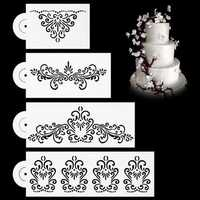 4Pcs Damask Lace Flower Designer Stencil Mould for Wedding Party Cake Decorations