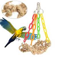 Bird Parrot Supplies Rope Swing Hammock Net Birds Hanging Toy
