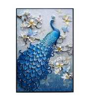 5D Peacock Diamond Paintings Embroidery Cross Stitch Home Craft Decor 23.6