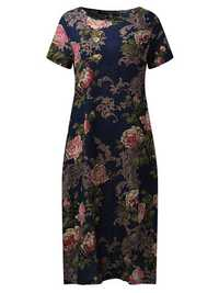 Short Sleeve Floral Printed Loose O-neck Women Dresses
