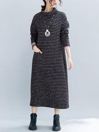 Women Winter Stripe Turtle Neck Long Sleeve Knit Dress with Pocket