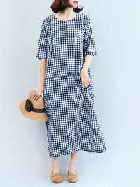 M-5XL Casual Women Black and White Plaid Dress