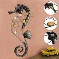 Hippocampus Iron Metal Craft Garden Hanging Wall Art Ornament Home Decorations