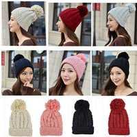 Women Ladies Crochet Knitted Beret Hat Ski Beanie Ball Wool Winter Warm Cap