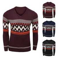 Mens Stripe Wave Printing V-neck Sweater Fashion Long Sleeve Fit Slim Pullover