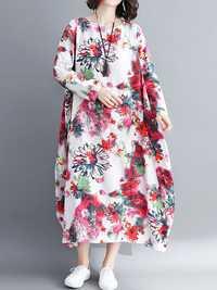 Vintage Floral Printed O-Neck Long Sleeve Long Dress