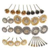 32pcs Wire Steel Brass Brushes Polishing Brush Wheels Set for Dremel Rotary Tool
