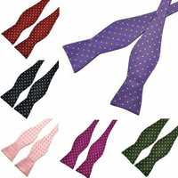 PenSee Mens Bow Ties Polka Dot Paisley Jacquard Woven Silk Neckties Accessory