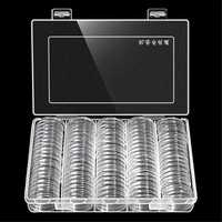Coins Holder Storage Box Hold 100Pcs 30mm Round Coins Boxes Plastic Protector