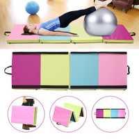 70.86x23.6x1.96inch 4 Folding Gymnastics Mat Yoga Exercise Gym Panel Tumbling Climbing Pad