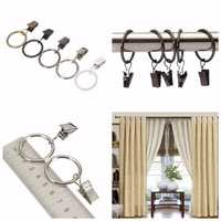 40pcs Metal Window Bathroom Curtain Clips Rings Pole Rod Voile Drapery 25mm Inner Diameter