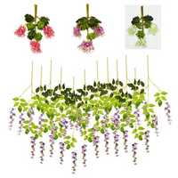 12 Pcs Artificial Silk Flower Wisteria Vine Hanging Garland Garden Wedding Decorations