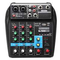 4 Channels USB Portable Mixer bluetooth Record Live Studio DJ Audio Mixing Console