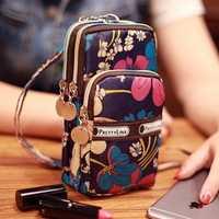 Mini Fashion Pattern Zipper Sport Shoulder Bag Wrist Purse For iPhone Samsung Xiaomi