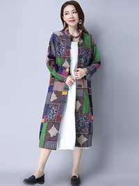 Spring Autumn Women Classic trench Coat Ethnic Plaid Vintage Windbreaker