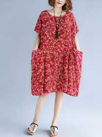 Floral Printed O-neck Knee-Length A-line Pockets Dress