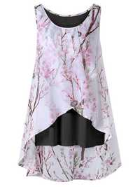 Plus Size Chinese Style Floral Sleeveless Tank Tops