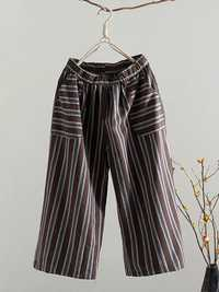 Women Stripe Elastic Waist Cotton Pant