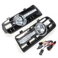 Car Front Bumper Grille Fog Lights DRL Driving Lamp with Switch and Harness for VW Golf MK4 1997-2006
