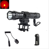 AURKTECH Hunting Tactical Flashlight Wavelength 650nm Aluminum Alloy Red 1 x 18650 Charger Suit