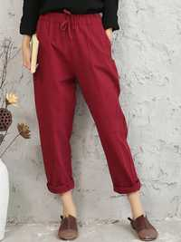Casual Solid Color Elastic Waist Harem Pants