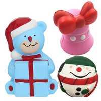 Christmas Gift 3PCS Squishy Jingle Bell Bear Snowman Jumbo