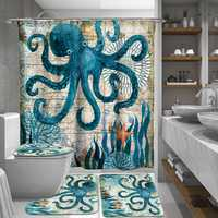 165/180cm Octopus Waterproof Bathroom Shower Curtains With C-shaped Curtain Hooks