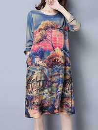 Women Scenery Printed Loose O-neck Pocket Long Sleeve Dress