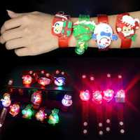 Christmas Gift Luminous Wrist Band Cartoon LED Flash Bracelet For Kids Presents Decoration Toys