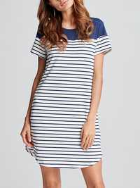 Women A-Line Short Sleeve Color Block Stripe Cotton O-Neck Mini Dress