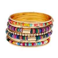 Bohemian Bead Fabric Rhinestone Multilayer Metal Bangle Bracelet
