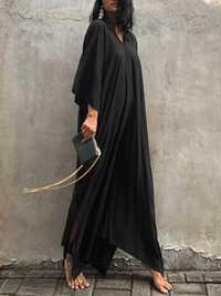 Plus Size V-neck Batwing Sleeve Kaftan Baggy Maxi Dress