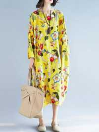 Plus Size Floral O-Neck Long Sleeve Loose Dress