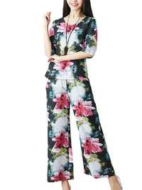 Women Casual Floral Print T-shirt Loose Wide Leg Pant