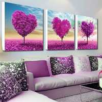 32x32cm 5D DIY Purple Love Tree Diamond Painting Resin Full Rhinestone Scenery Cross Stitch Kit