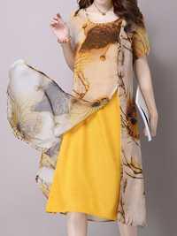 Vintage Floral Print Fake Two Pieces Dresses