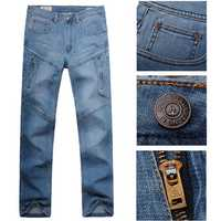 Men Casual Summer Autumn Plus Size Multi Pocket Loose Straight-leg Cotton Denim Pants