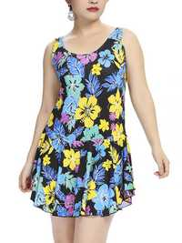 Plus Size Women Flower Printed Swimwear Vest Swimwear Dress