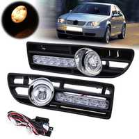 Pair Front Lower Bumper Fog Light Cover Grille w/LED DRL for VW Bora Jetta MK4 1999-2007