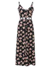 Women Sexy Strap Flower Printed Split Beach Maxi Dress
