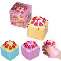 2PCS Vlampo Squishy Jumbo Strawberry Cup Cake Cube Licensed Slow Rising With Packaging