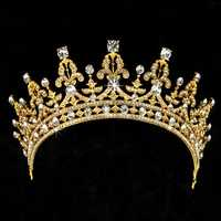 Bride Crystal Rhinestone Crown Vintage Wedding Bridal Headbrand Queen Tiara Hair Accessories