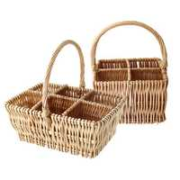 4/6 Bottles Wicker W ine Woven Compartment Carrier C hampagne Holder Storage Baskets