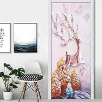 3D Door Wall Sticker Fridge Deer Sticker Wrap Mural Decal Art Decor Self Adhesive Room