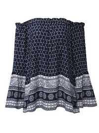 Bohemian Women Print Elastic Off Shoulder Bell Long Sleeve Blouses