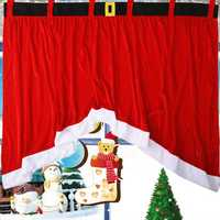 160x92x77cm Cotton Panel Christmas Festival Red Window Curtain Door Drape Home Decoration