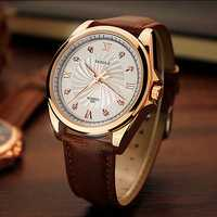 YAZOLE 325 Men Crystal Luminous Leather Band Quartz Watch
