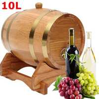 10L Wood Oak Timber Barrel Keg Wine Spirits Whisky Port French Toasted with Stand Wooden Barrel